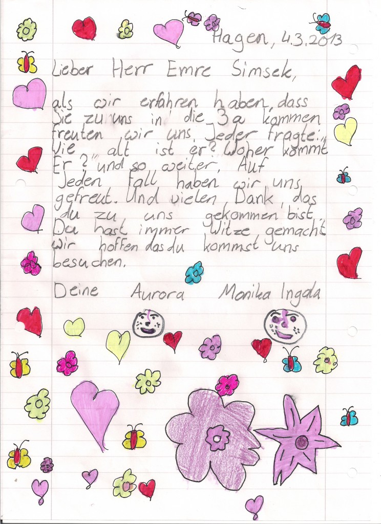 Brief an Herrn Simsek
